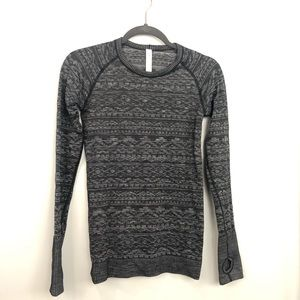 Lululemon Heathered Black Fitted Long Sleeve Top